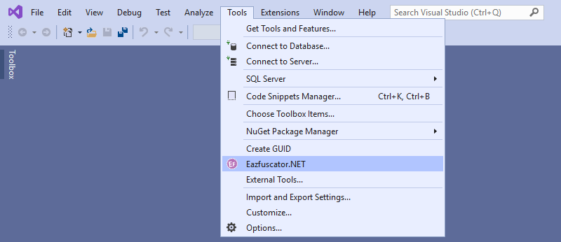 Tools Menu of Visual Studio